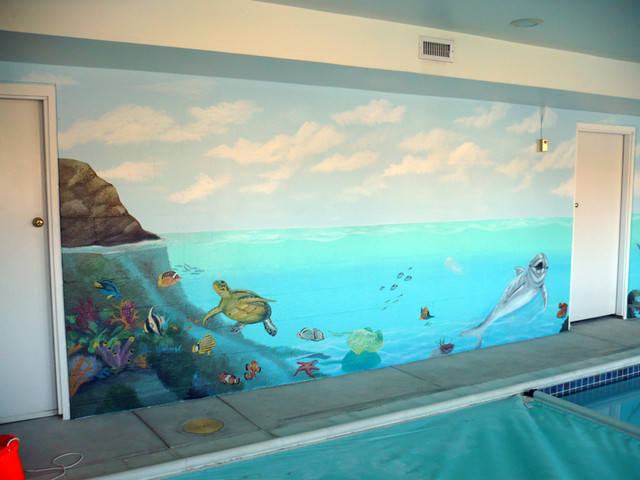 Ocaen themed indoor residential pool painted by ml murals beach style pool other metro