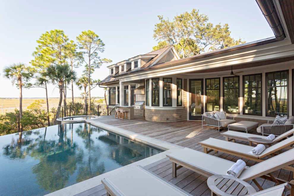 Example of a beach style pool design in Charleston