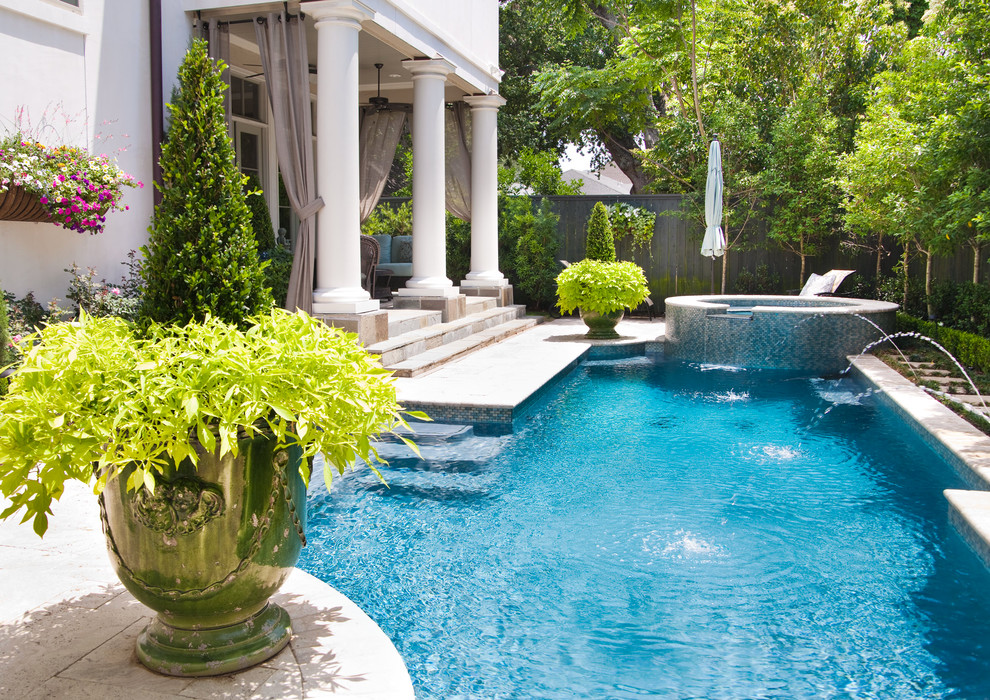 Pool - traditional custom-shaped pool idea in New Orleans