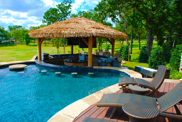 Outdoor Bar Area With Palapa Tropical Pool Dallas