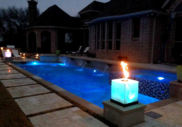 Outdoor Fire Features Contemporary Swimming Pool Dallas By