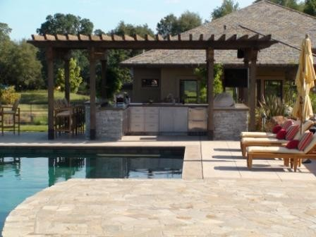 Outdoor Kitchen - Sacramento Valley - Modern - Pool ... on Outdoor Kitchen By Pool id=48254