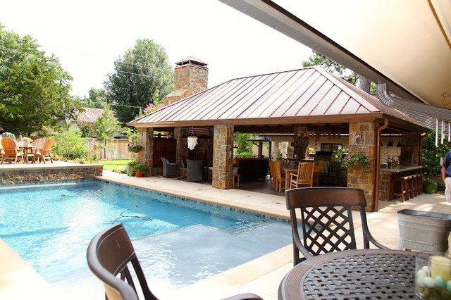 outdoor living & kitchen space - eclectic - pool - other