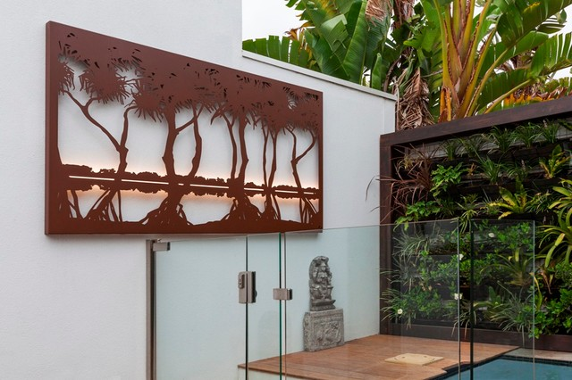 Outdoor Living By The Pool With Entanglements Laser Cut Metal Art Contemporary