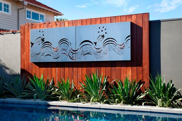 modern outdoor living melbourne. outdoor living: by the pool with entanglements laser cut metal art modern -pool living melbourne w