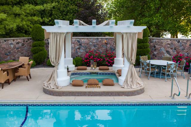 Large Elegant Backyard Concrete And Rectangular Lap Hot Tub Photo In Other
