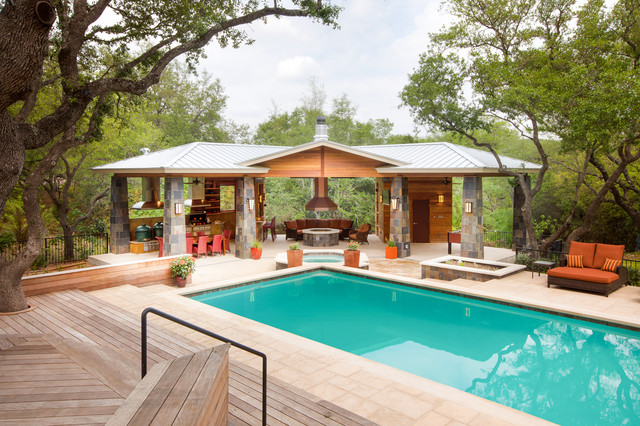 outdoor living paradise contemporary pool austin