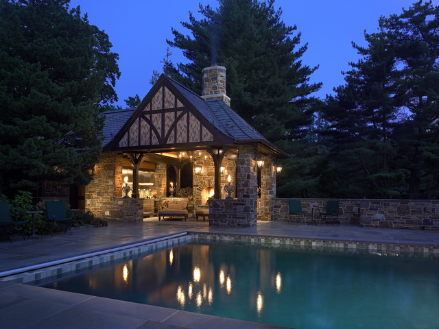 Outdoor Living Room traditional-pool