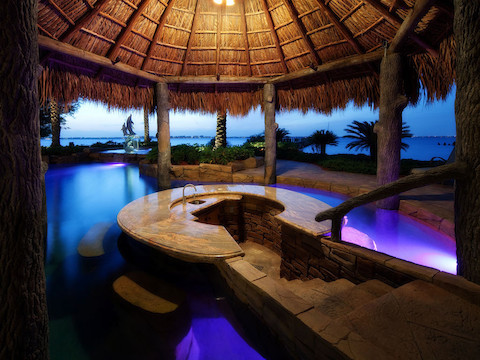 Outdoor living space tropical pool other metro by for Outdoor pool bar ideas