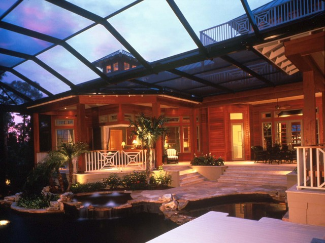 Outdoor Living Space Tropical Pool Orlando By The
