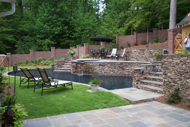 Outdoor living spaces casual cottage for Pool design hillside