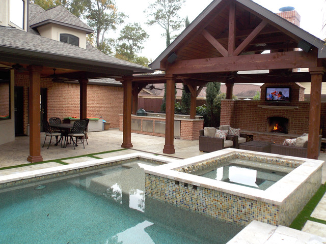outdoor living spaces traditional pool houston by