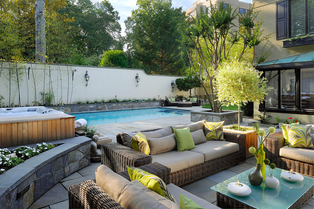 Outdoor oasis in nw washington mediterranean pool dc for Garden oases pool entrance