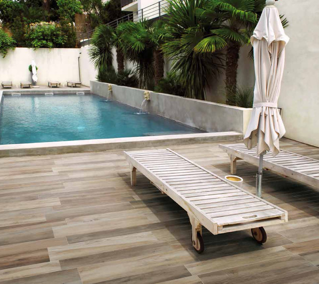 Outdoor Pool Patio With Porcelain Tile Floors Contemporary Swimming Pool  And Hot