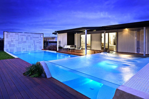 outdoor swimming pool with glass concept bauhaus look