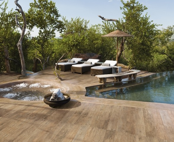 Outdoor wood tile for Baguette alu carrelage