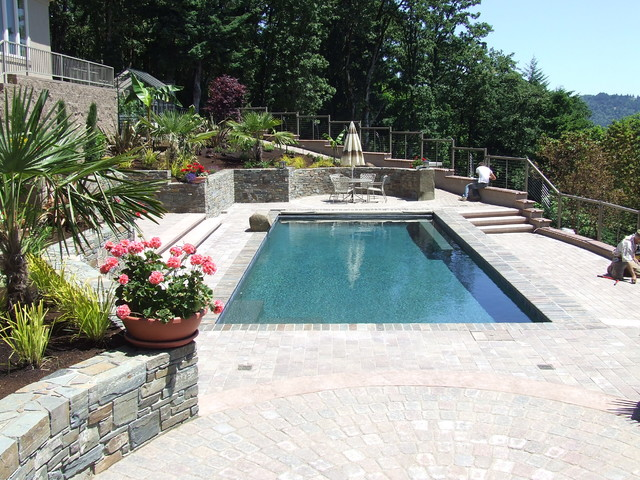 Overlooking the Landscape traditional-pool