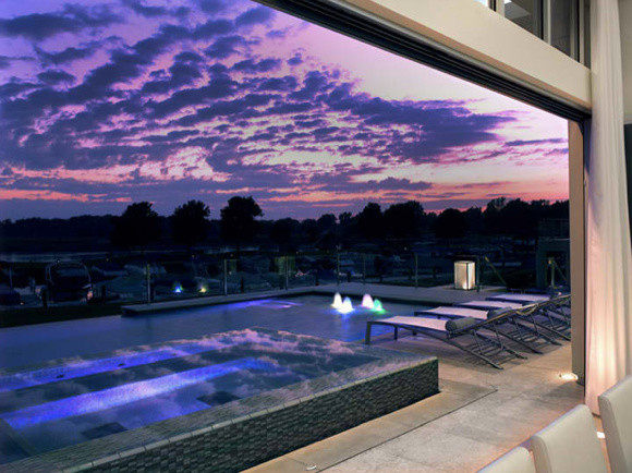 Overlooking Zero Edge Pool Contemporary Pool Detroit