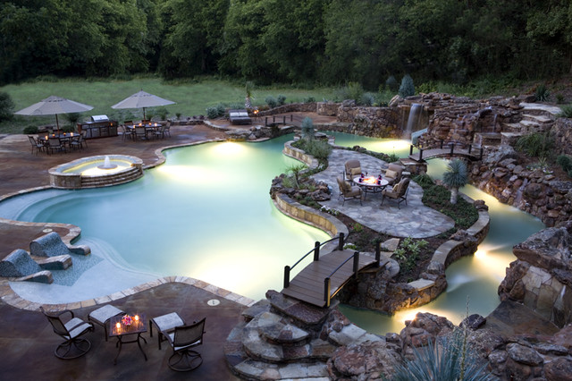 Backyard Lazy River Creative Paradise Pool  Tropical  Pool  Other
