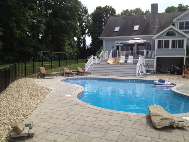 Paver Pool deck contemporary-pool