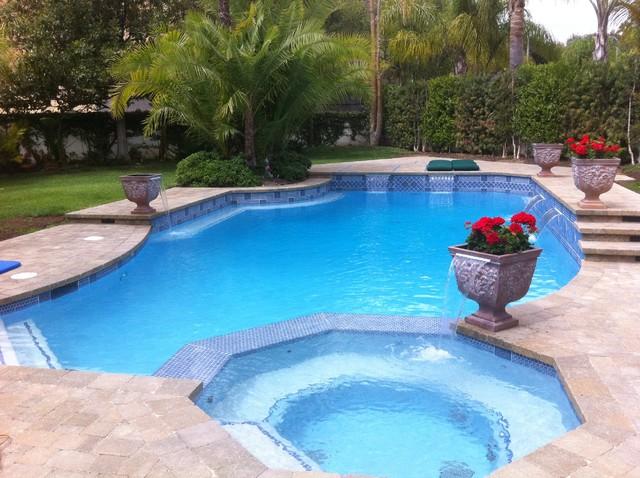 Pebble fina bella blue contemporary pool los angeles - Salt water swimming pools los angeles ...