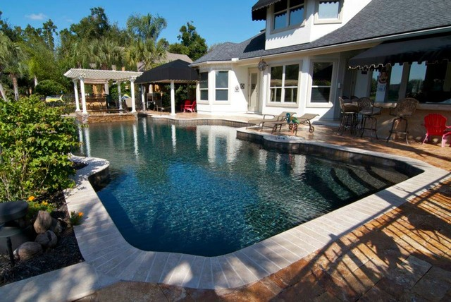 Pebble Finishes Sunstone Pearl Black Pearl Traditional Pool Jacksonville By Cl
