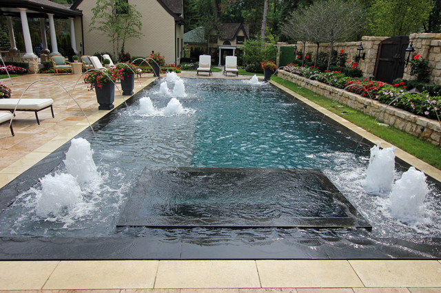Perimeter Overflow Pool With Spa Contemporary Pool