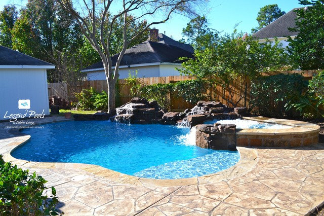 Pin oak village katy texas tropical pool for Pool design katy tx