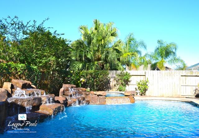 Pin oak village katy texas tropical pool houston for Pool design katy tx