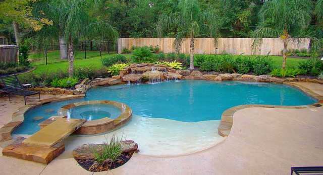 Pool Spa Combination Tropical Pool Houston By