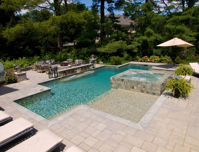 Pool and spa with 360 degree spa spillover two sun shelfs for Pool and spa contractors