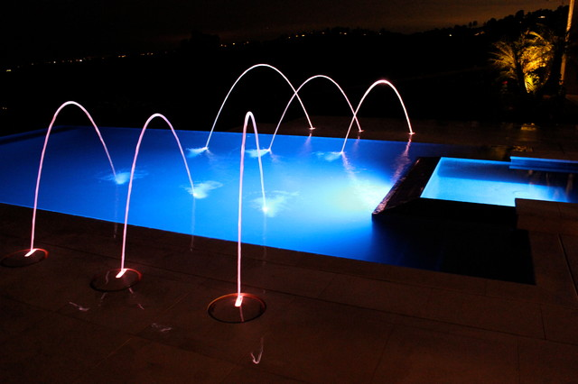Pool And Spa With Fountain Spitters