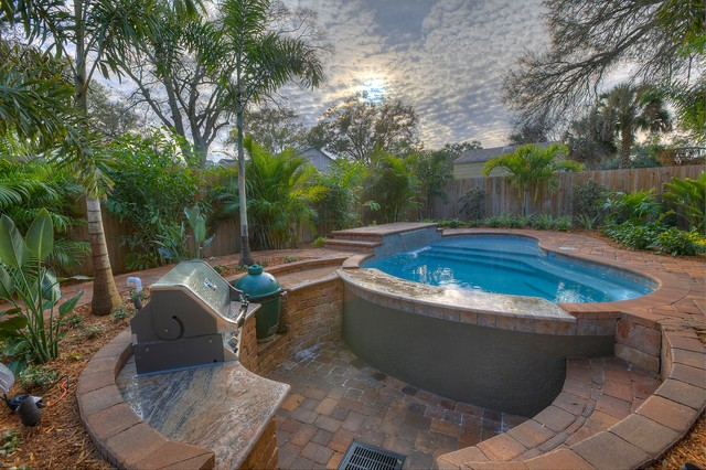 Pool and sunken kitchen tropical swimming pool hot for Pool design tampa