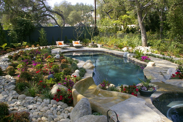 Charmant Inspiration For A Large Timeless Backyard Stone And Custom Shaped Water  Slide Remodel In Los