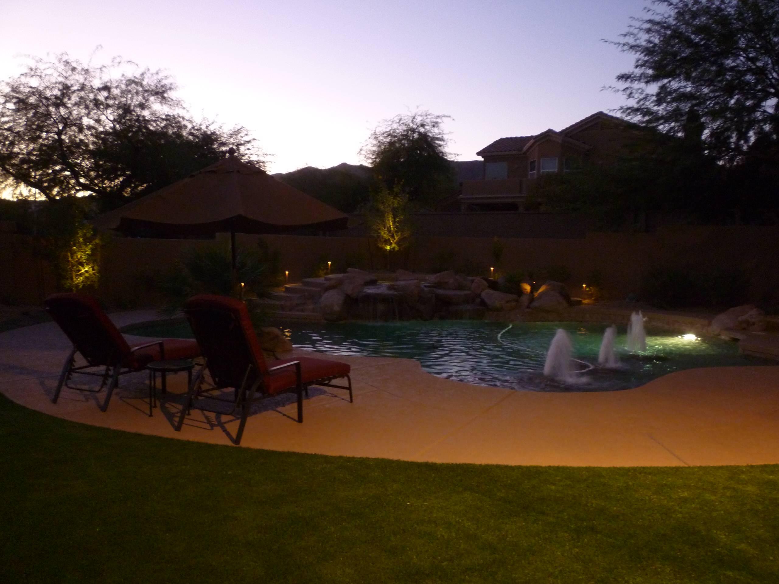 Pool Area w/ Accent Landscape Lighting