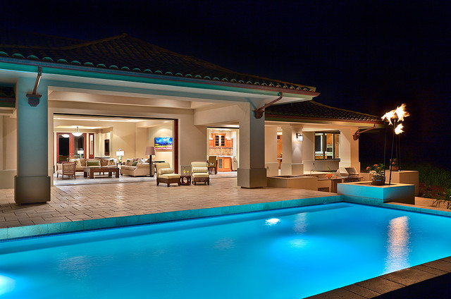Pool At Night Tropical Pool Hawaii By Architectural Design Construction