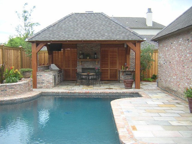 Pool cabana traditional pool new orleans by ferris for Small pool house with bathroom
