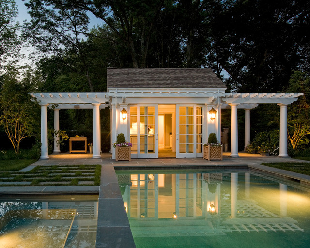 Pool cabana traditional pool boston by merrimack for Cabana bathroom ideas