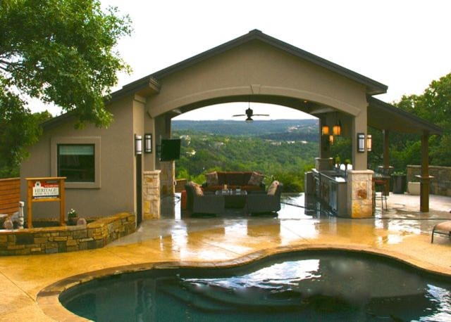 Pool casita with hill country view traditional pool for Casita plans for backyard