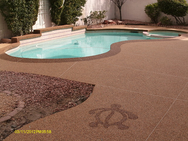 Pool deck tropical pool las vegas by pebble stone for Above ground pool decks las vegas