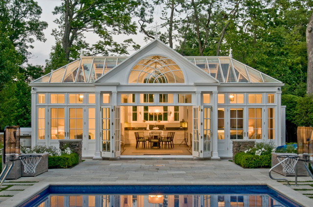 Pool House Conservatory With Kitchen Traditional Pool Chicago
