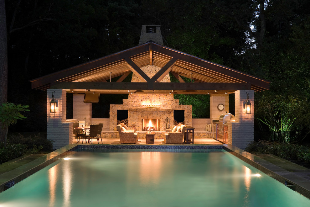 Pool House Contemporary Pool Houston By Exterior Worlds Landscaping Design,Island Elegant Kitchen Designs