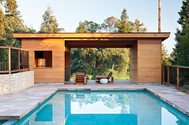 Pool house in los gatos contemporary pool san for Construction pool house piscine