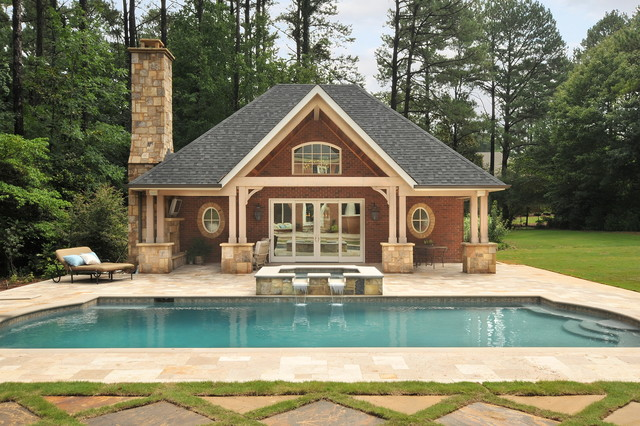 Pool house traditional pool atlanta by innovative for Pool house plans with garage