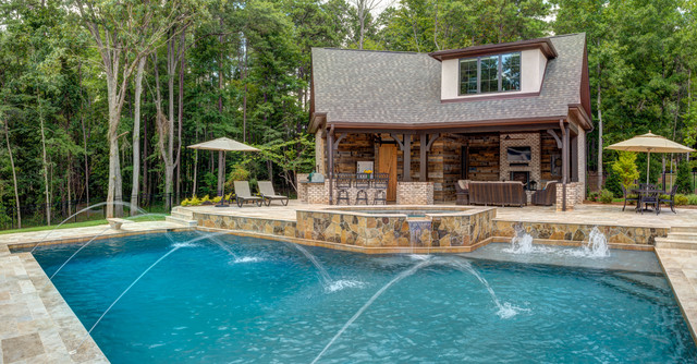 Pool House Outdoor Kitchen Addition Rustic