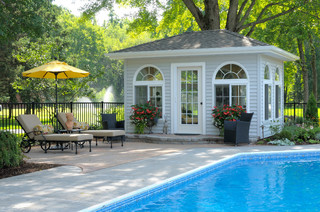 ... And Poolside Lounge Chairs And Pool House For Storage