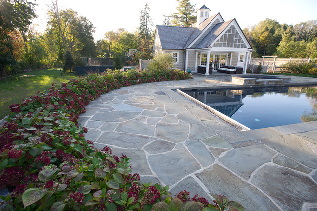 Pool house with hydrangea traditional pool new york for Garden grove pool fairfield