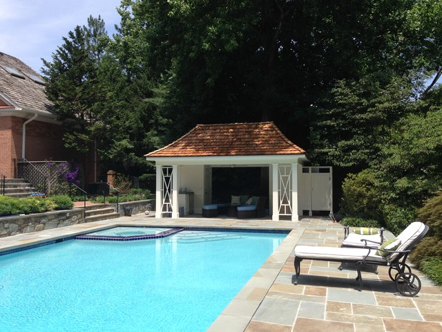 Pool House With Shingle Roof Pool Spa And Stone Deck