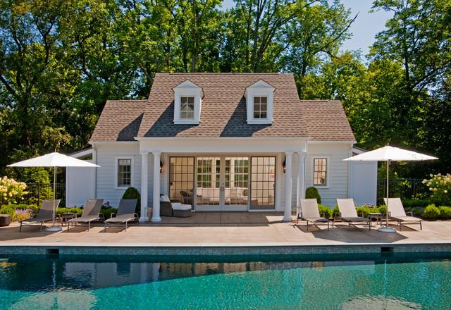 Inspiration for a beach style backyard rectangular pool house remodel in Philadelphia