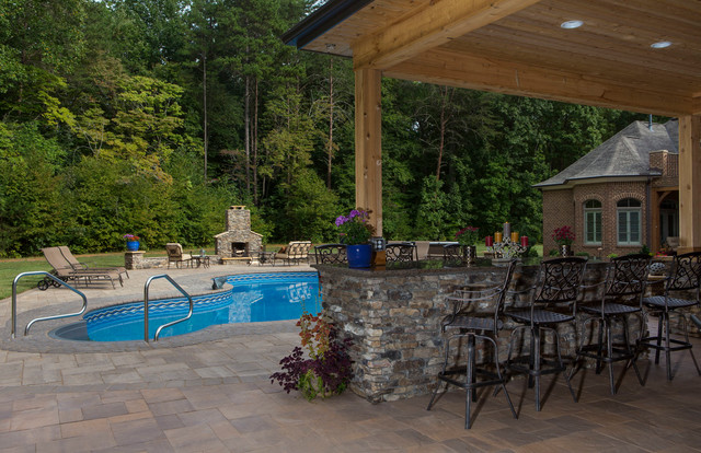 Pool patio and outdoor living space Traditional Pool